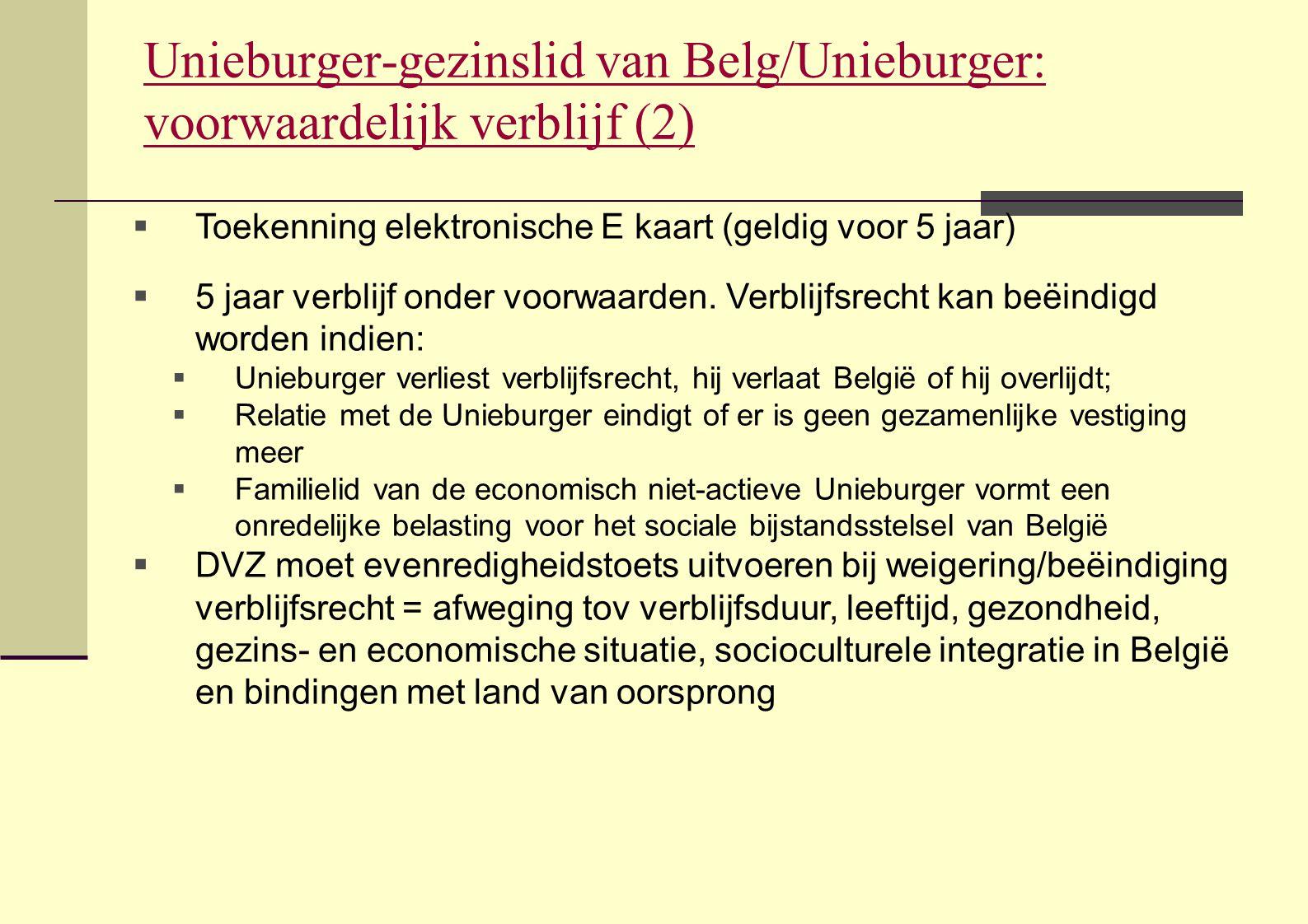 Unieburger-gezinslid van Belg/Unieburger: voorwaardelijk verblijf (2)