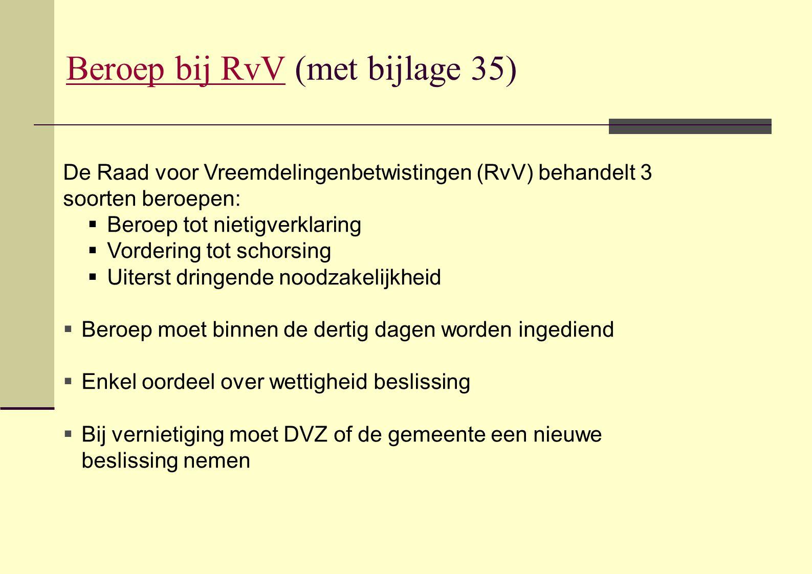 Beroep bij RvV (met bijlage 35)