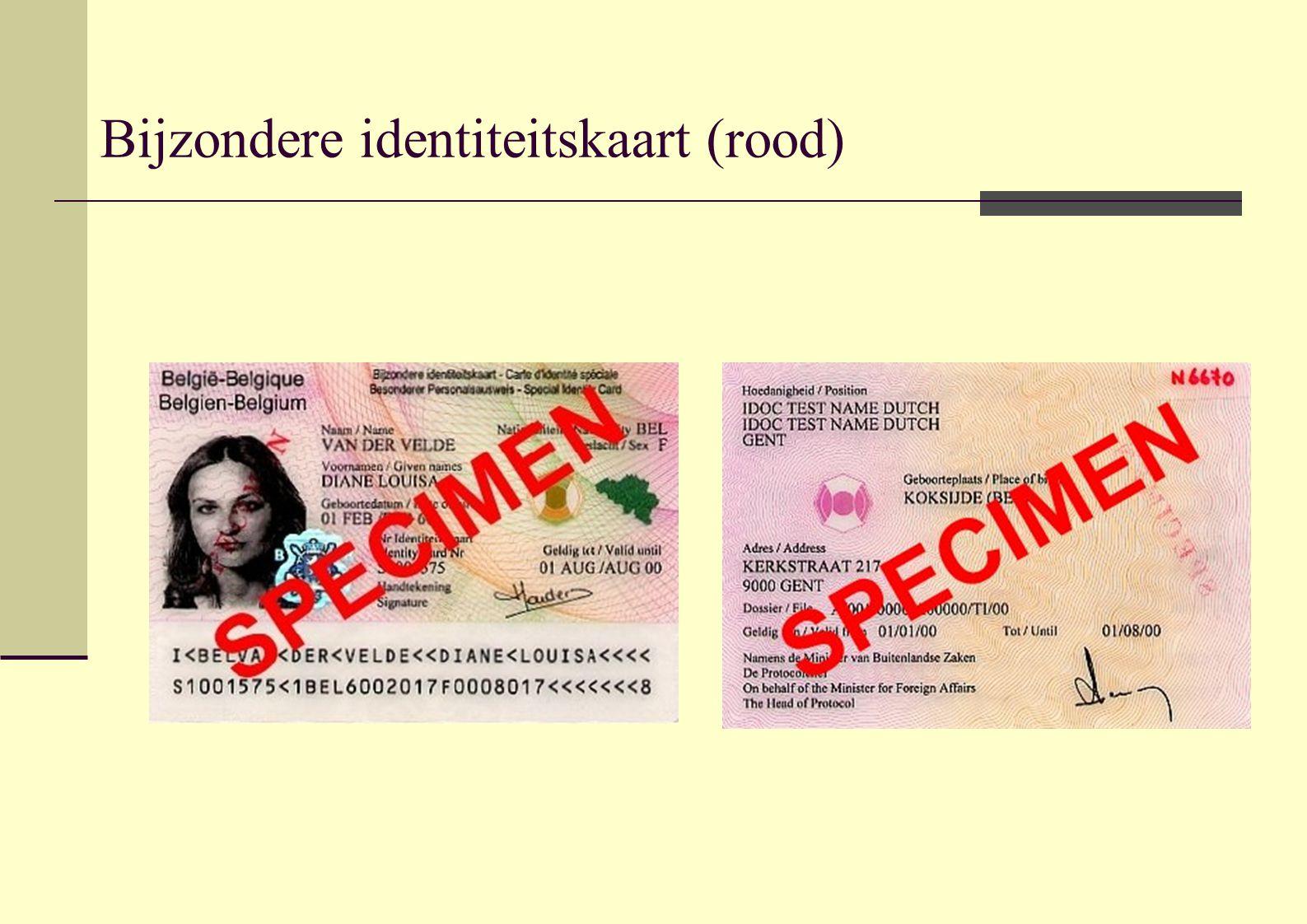 Bijzondere identiteitskaart (rood)