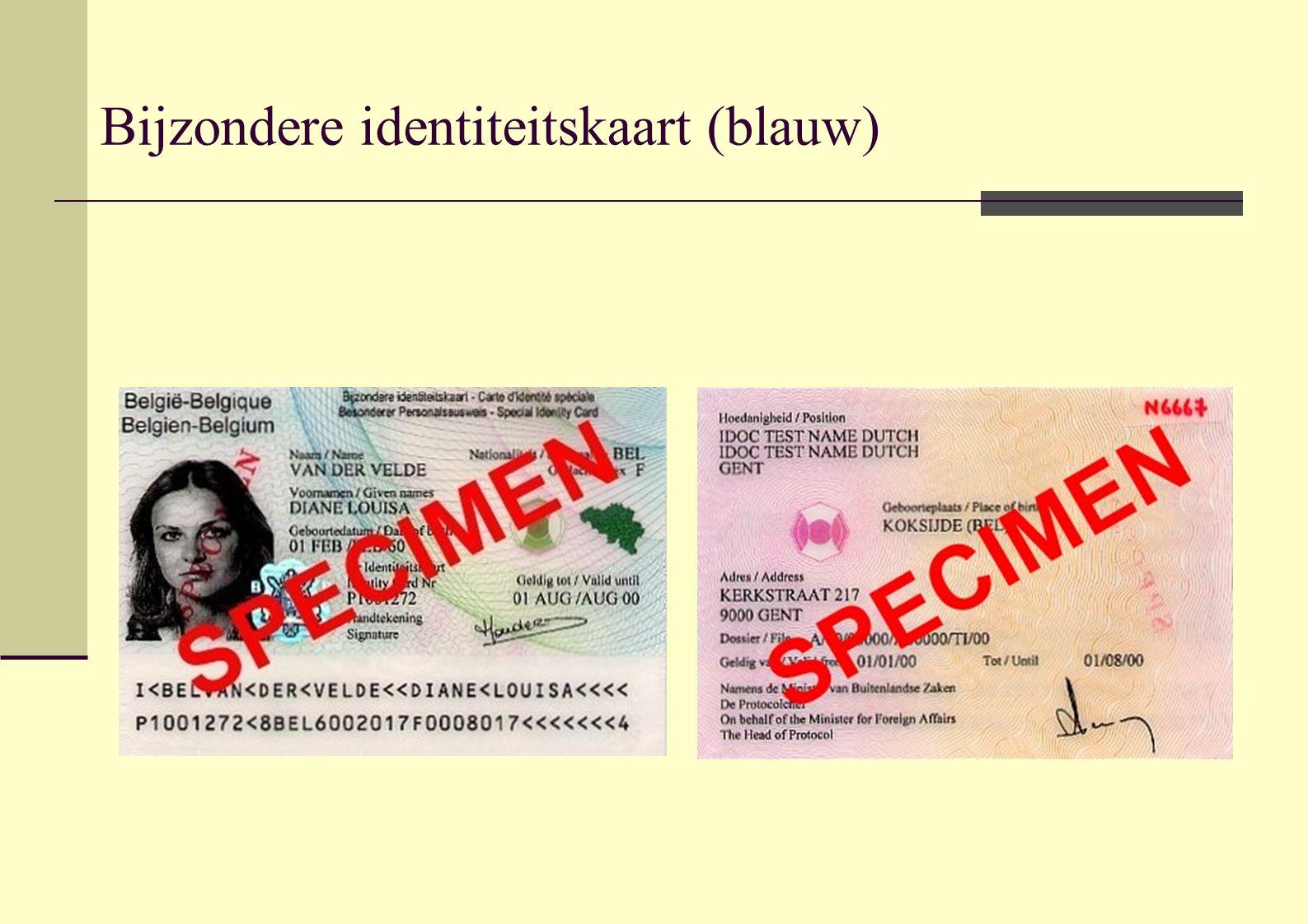 Bijzondere identiteitskaart (blauw)
