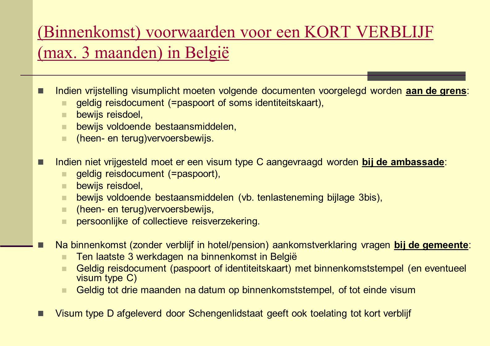 (Binnenkomst) voorwaarden voor een KORT VERBLIJF (max