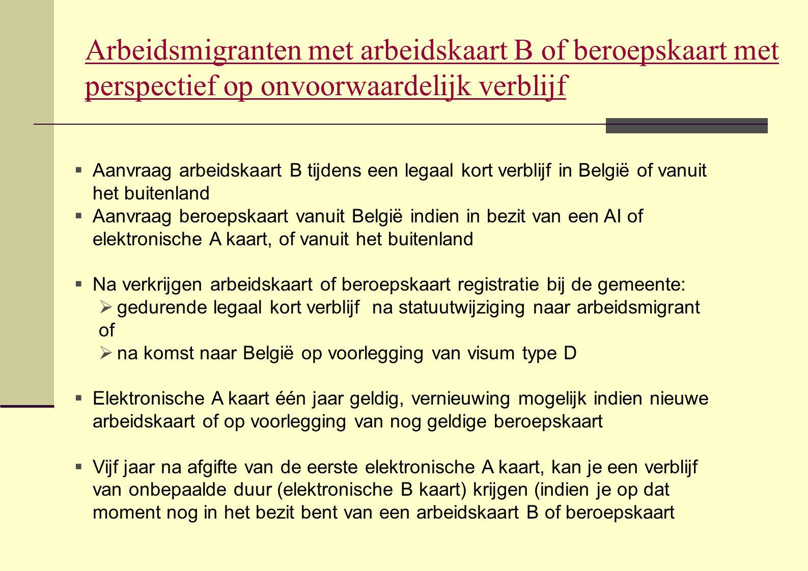 Arbeidsmigranten met arbeidskaart B of beroepskaart met perspectief op onvoorwaardelijk verblijf
