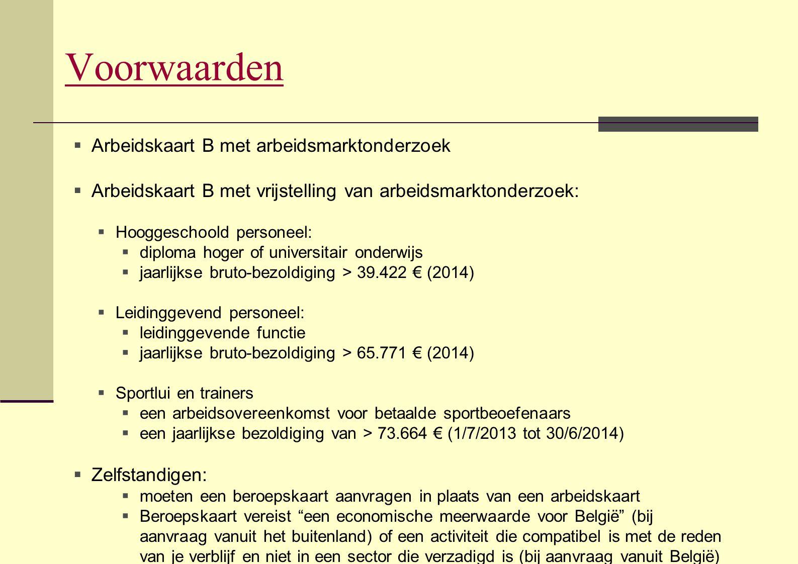Voorwaarden Arbeidskaart B met arbeidsmarktonderzoek