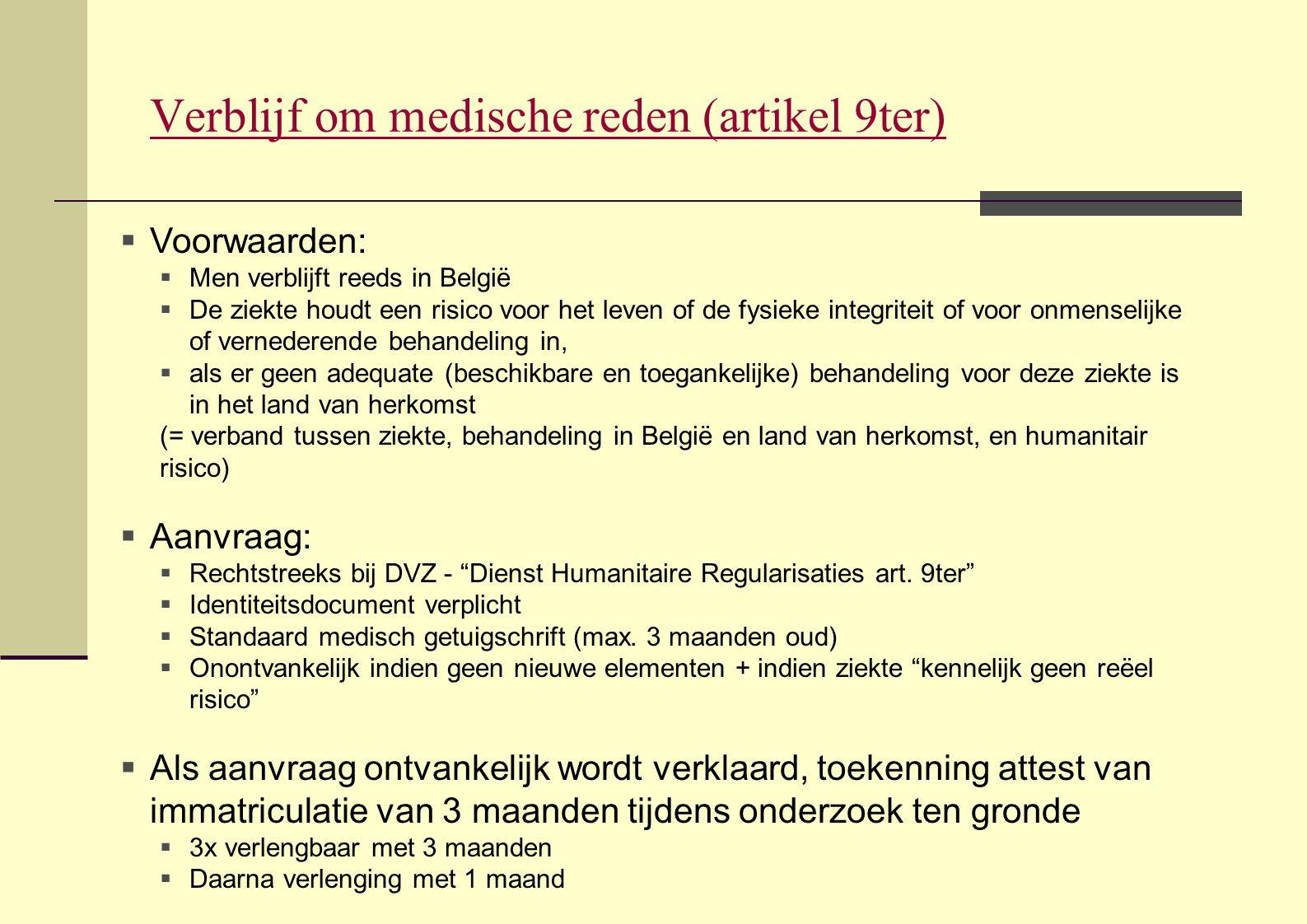 Verblijf om medische reden (artikel 9ter)