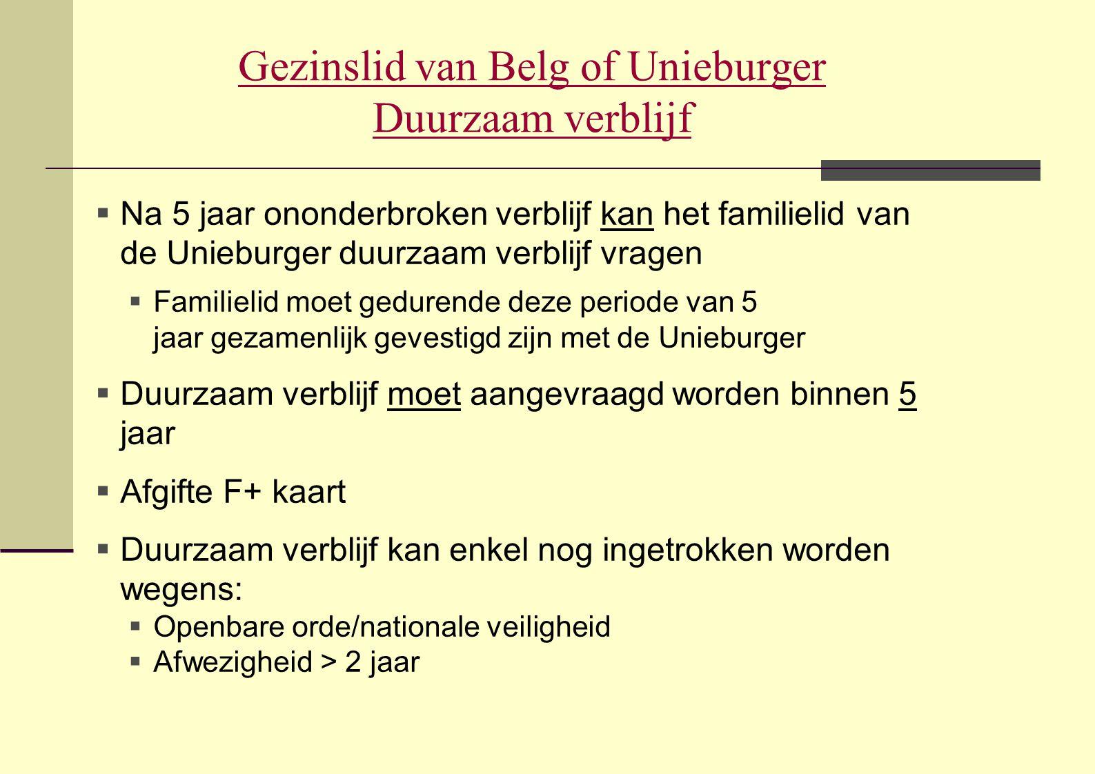 Gezinslid van Belg of Unieburger Duurzaam verblijf