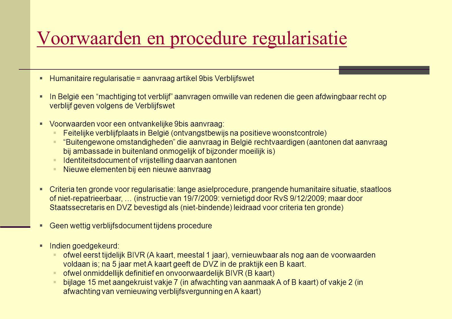 Voorwaarden en procedure regularisatie