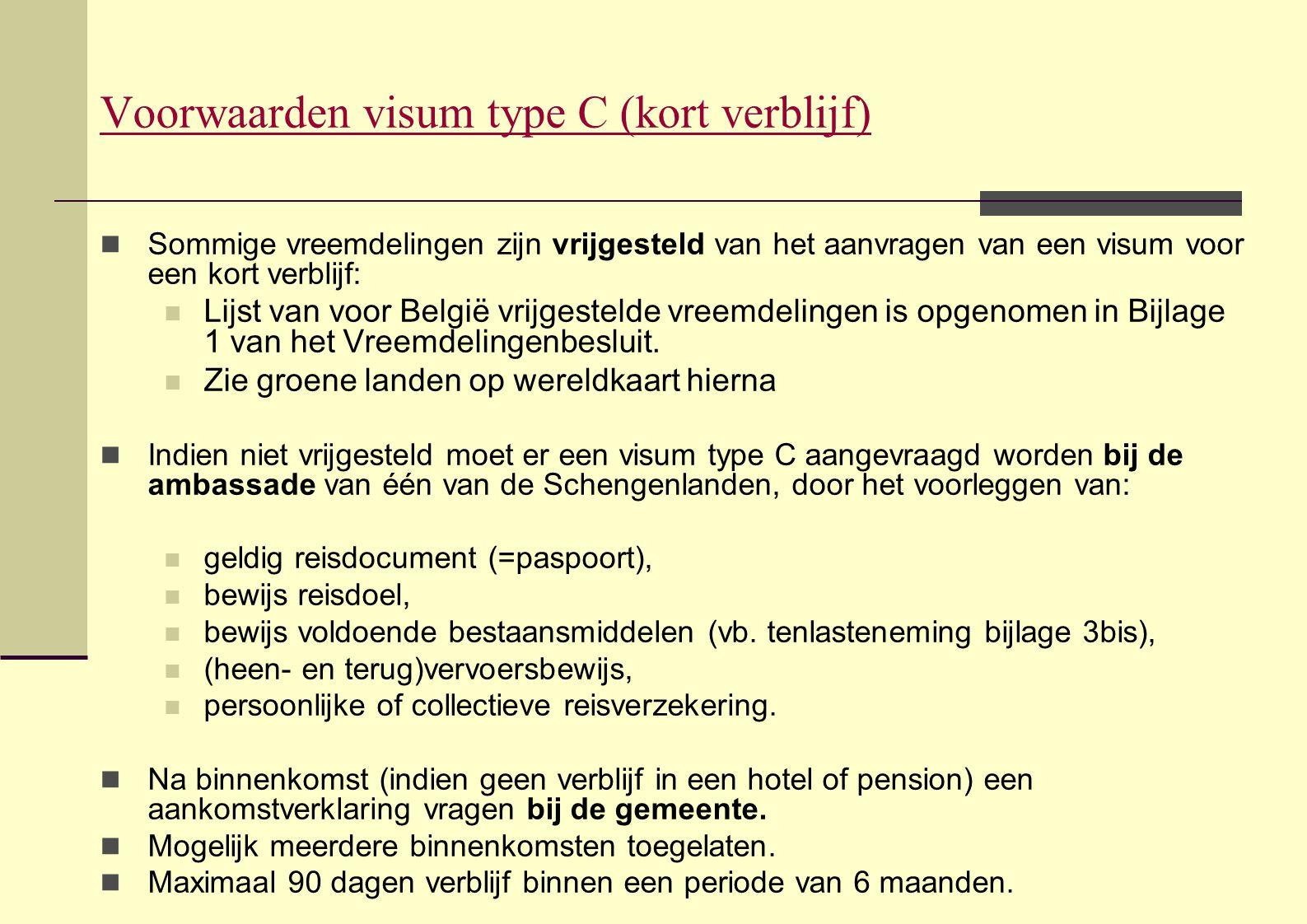 Voorwaarden visum type C (kort verblijf)