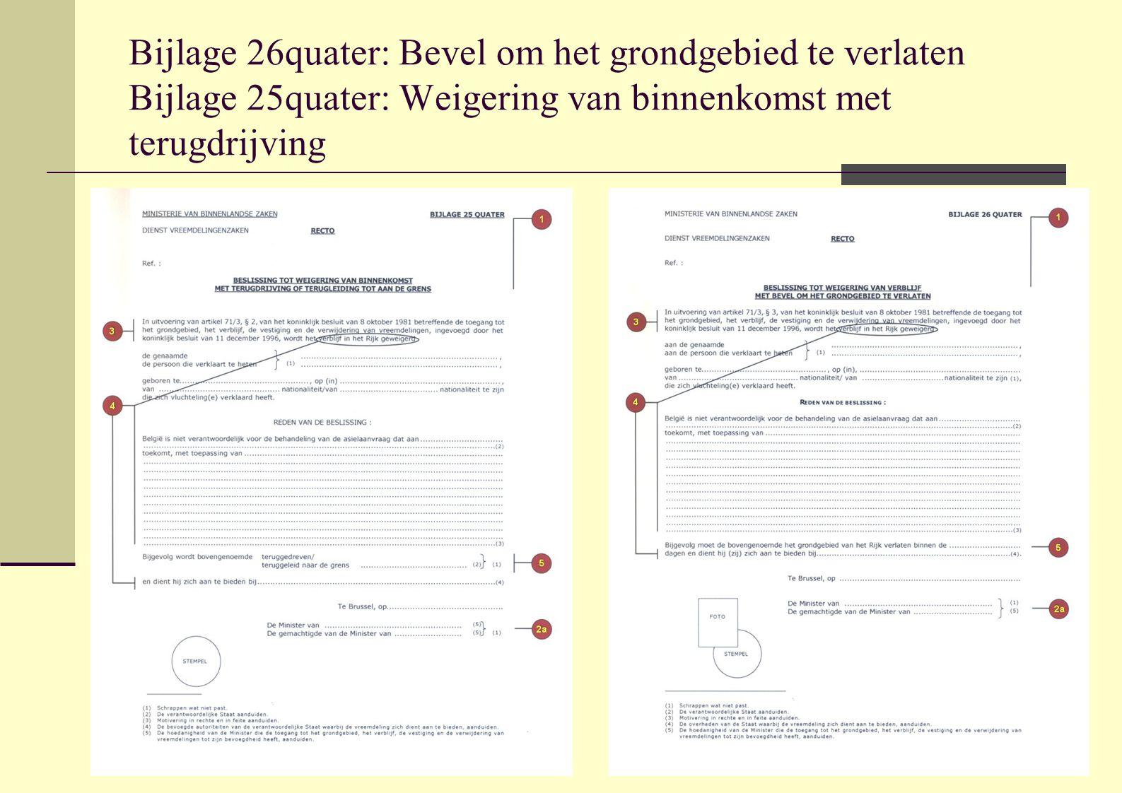 Bijlage 26quater: Bevel om het grondgebied te verlaten Bijlage 25quater: Weigering van binnenkomst met terugdrijving