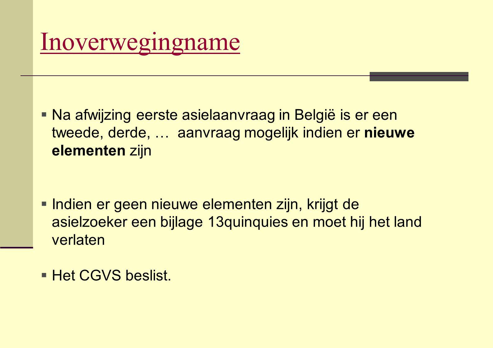 Inoverwegingname Na afwijzing eerste asielaanvraag in België is er een tweede, derde, … aanvraag mogelijk indien er nieuwe elementen zijn.