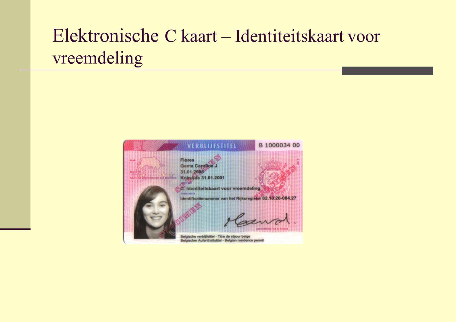 Elektronische C kaart – Identiteitskaart voor vreemdeling