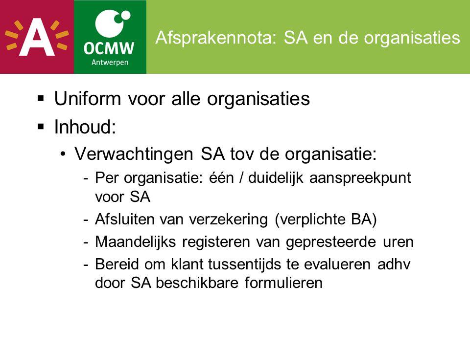 Afsprakennota: SA en de organisaties