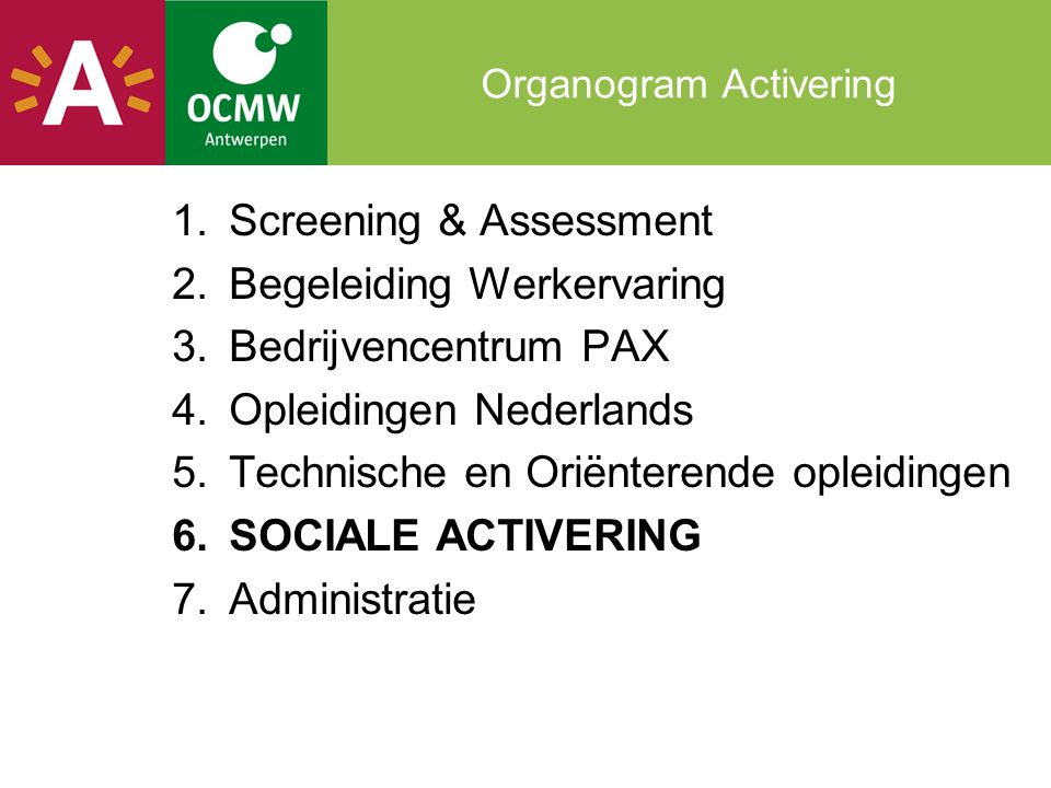 Organogram Activering