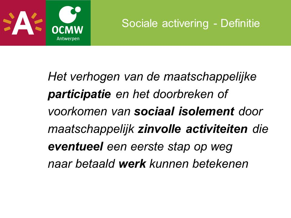 Sociale activering - Definitie
