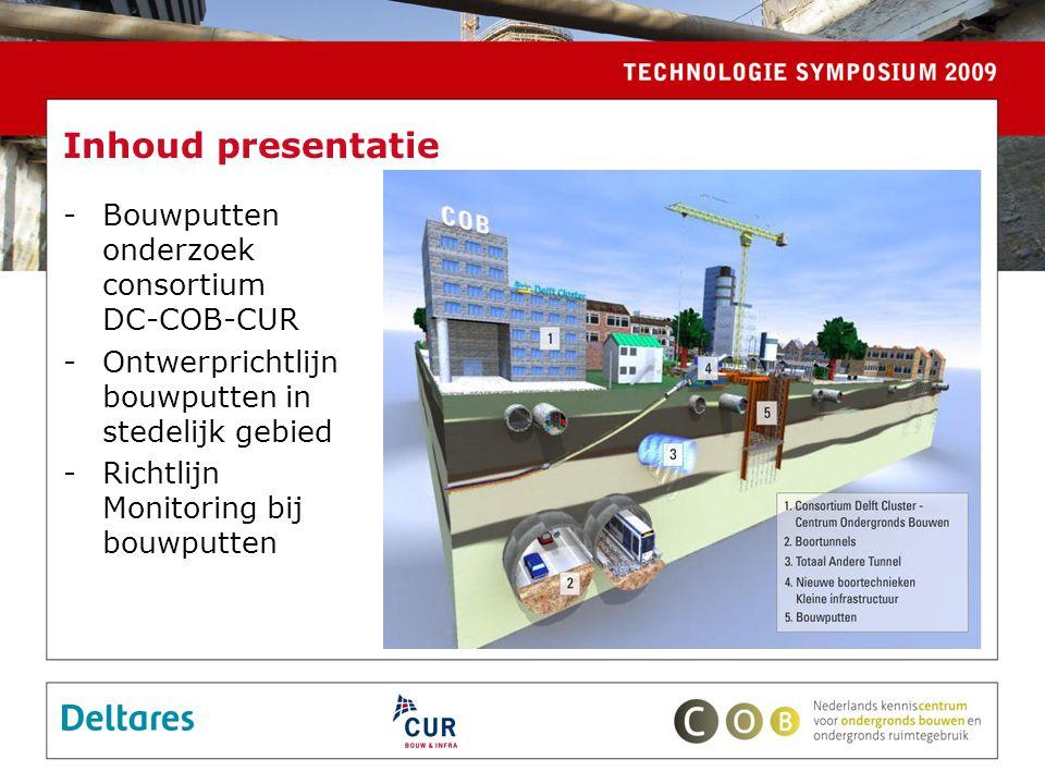 Inhoud presentatie Bouwputten onderzoek consortium DC-COB-CUR