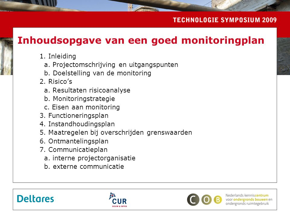 Inhoudsopgave van een goed monitoringplan