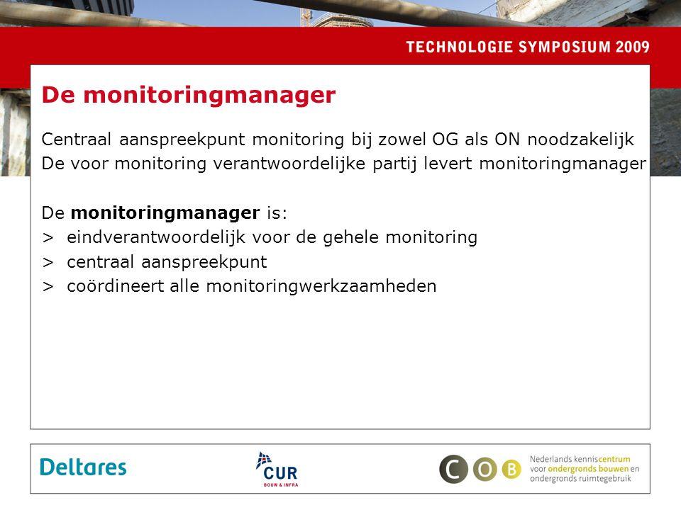 De monitoringmanager Centraal aanspreekpunt monitoring bij zowel OG als ON noodzakelijk.