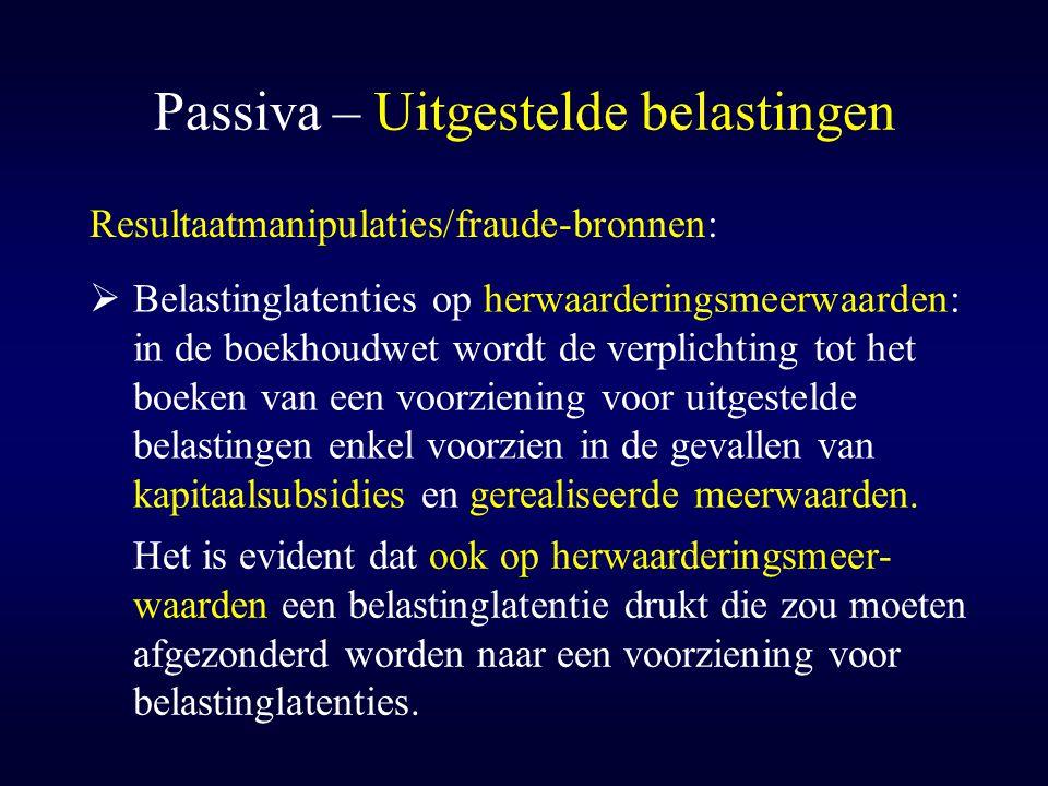 Passiva – Uitgestelde belastingen
