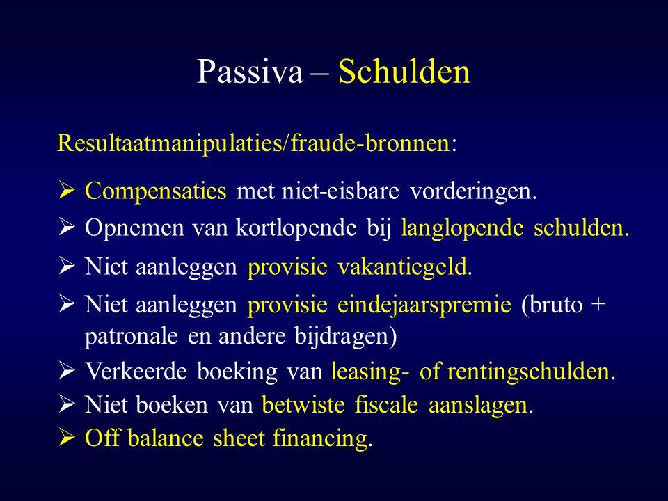 Passiva – Schulden Resultaatmanipulaties/fraude-bronnen: