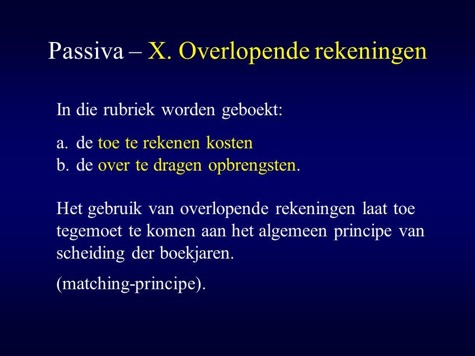 Passiva – X. Overlopende rekeningen
