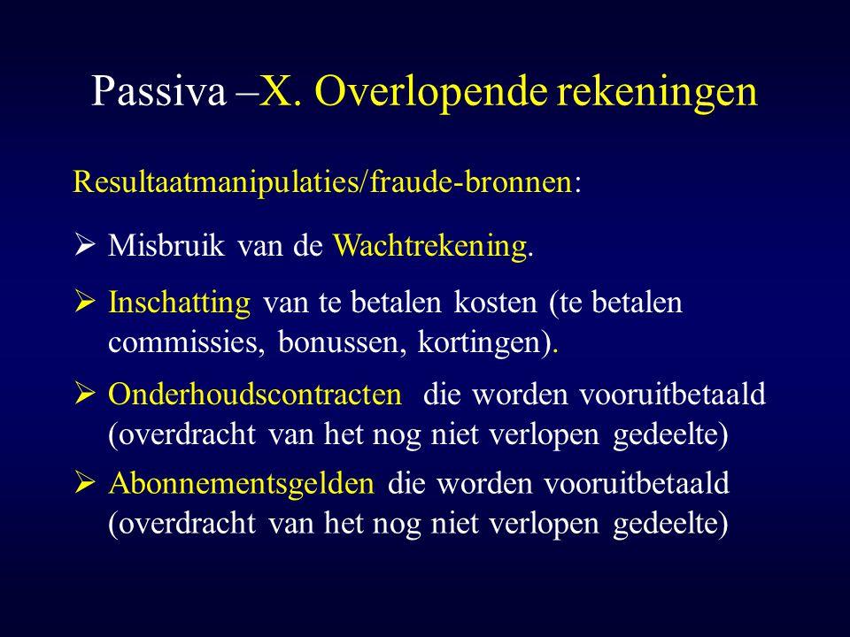 Passiva –X. Overlopende rekeningen