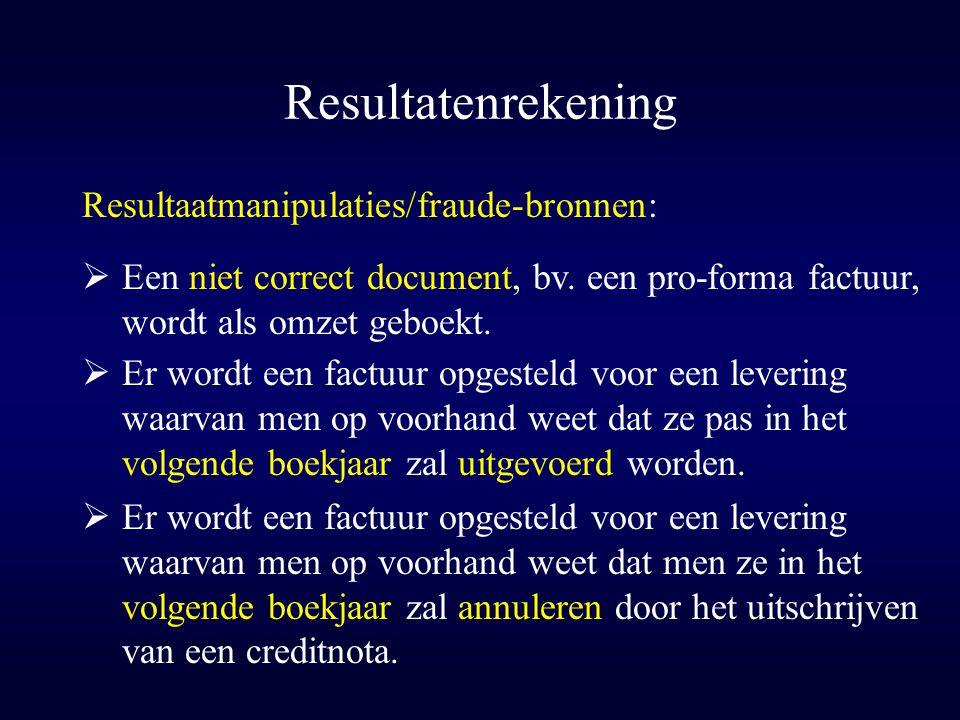 Resultatenrekening Resultaatmanipulaties/fraude-bronnen: