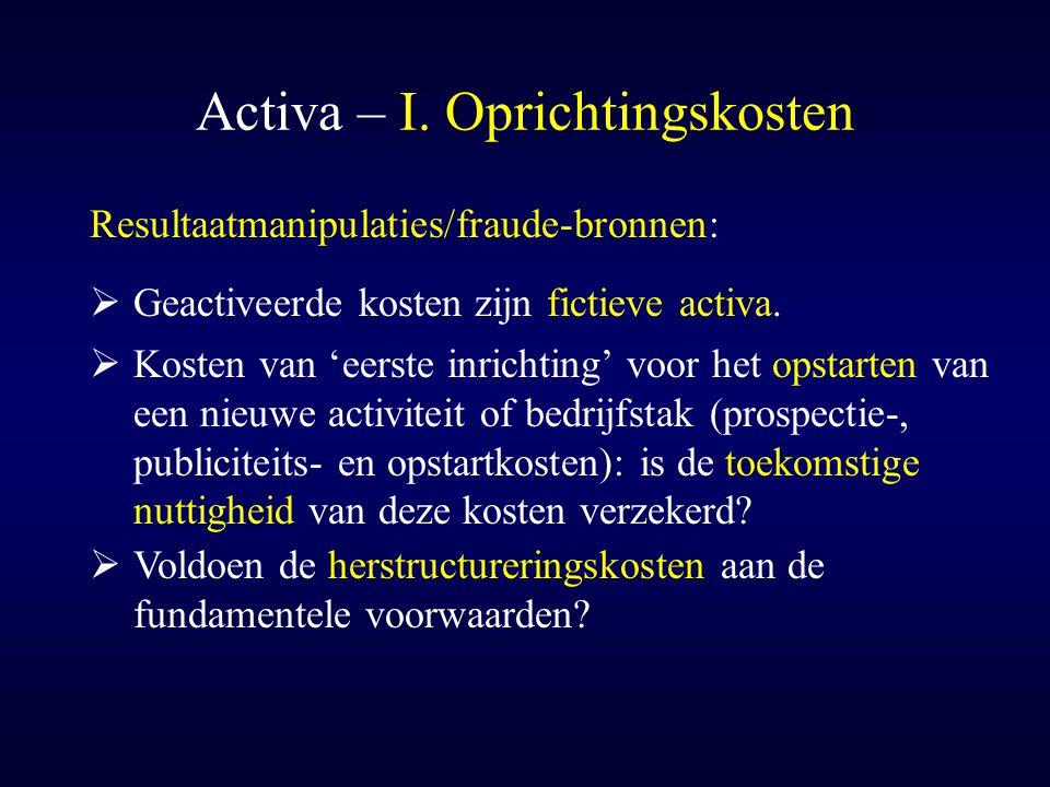 Activa – I. Oprichtingskosten