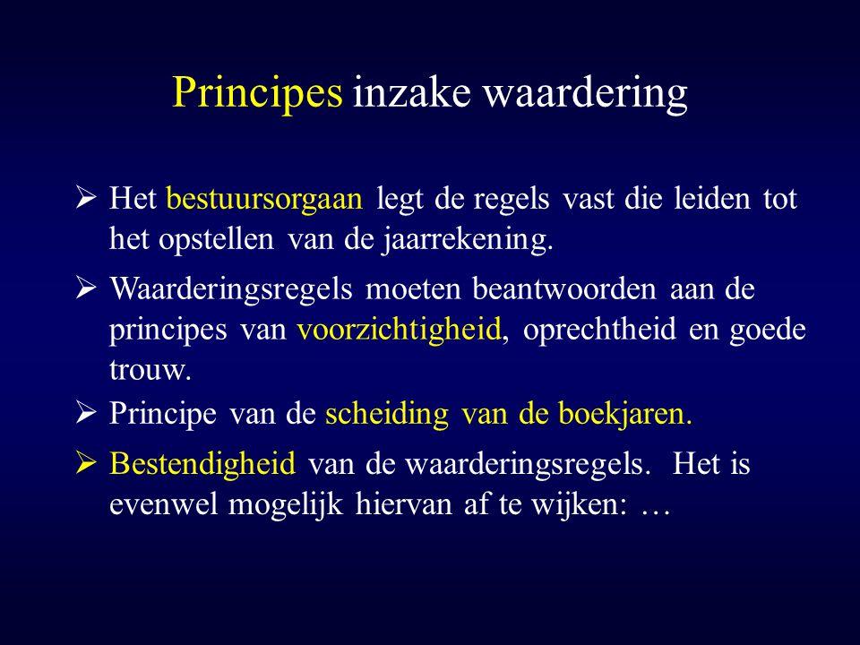 Principes inzake waardering