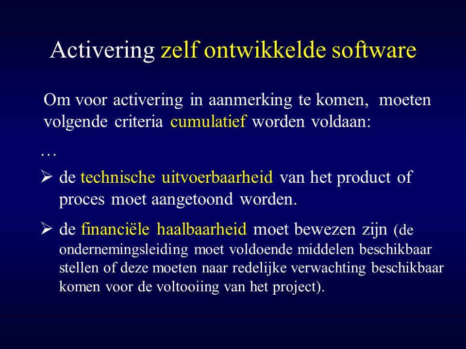 Activering zelf ontwikkelde software