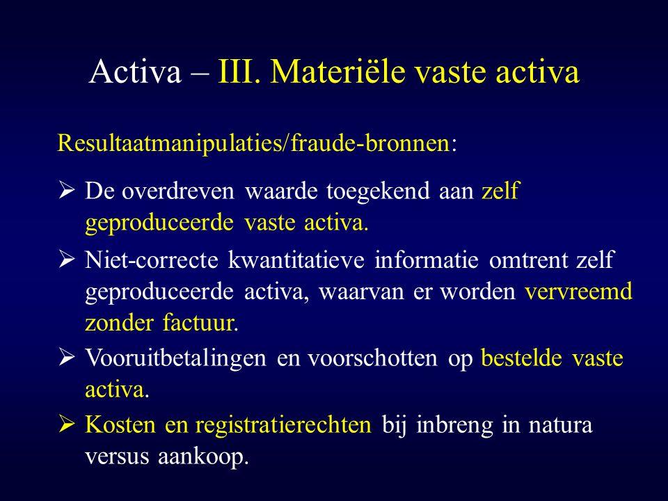 Activa – III. Materiële vaste activa