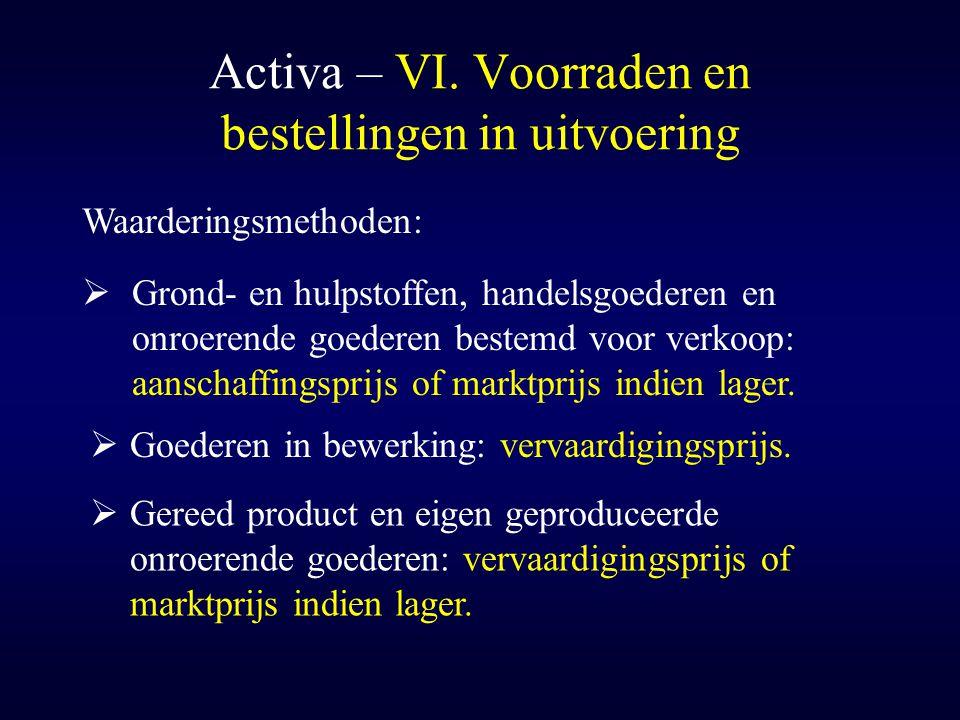 Activa – VI. Voorraden en bestellingen in uitvoering