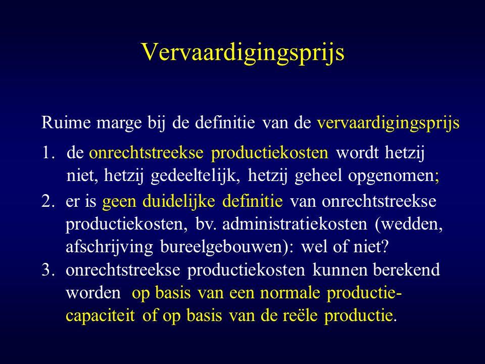 Vervaardigingsprijs Ruime marge bij de definitie van de vervaardigingsprijs.