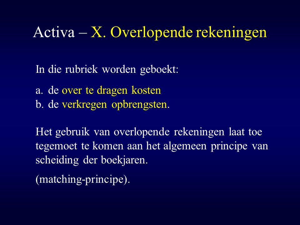 Activa – X. Overlopende rekeningen