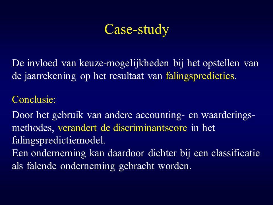 Case-study De invloed van keuze-mogelijkheden bij het opstellen van de jaarrekening op het resultaat van falingspredicties.