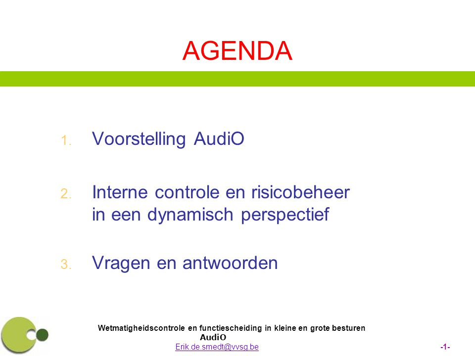 AGENDA Voorstelling AudiO