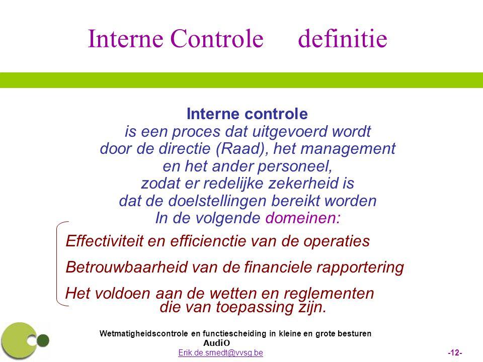 Interne Controle definitie