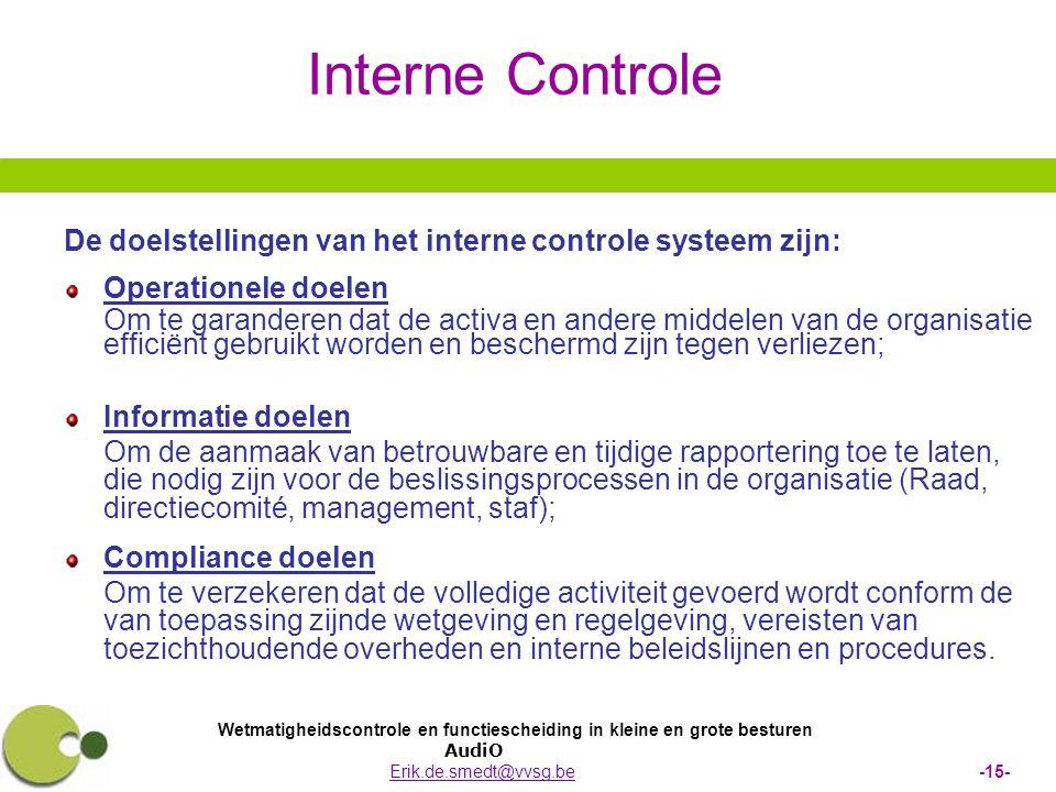 Interne Controle De doelstellingen van het interne controle systeem zijn: Operationele doelen.