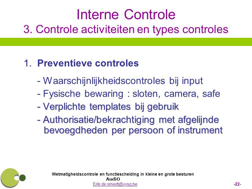 Interne Controle 3. Controle activiteiten en types controles