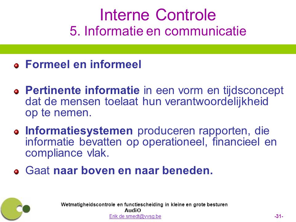 Interne Controle 5. Informatie en communicatie