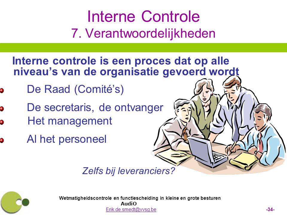 Interne Controle 7. Verantwoordelijkheden