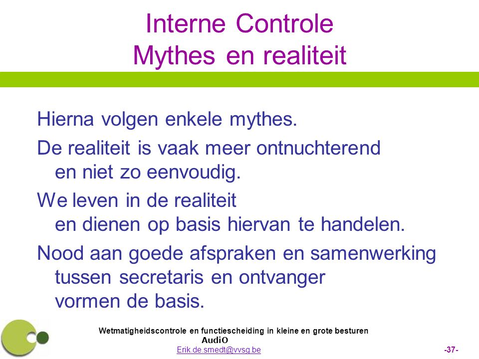 Interne Controle Mythes en realiteit