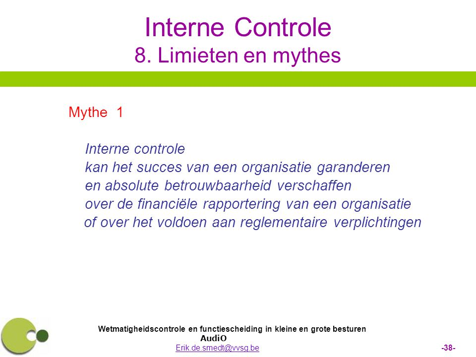 Interne Controle 8. Limieten en mythes