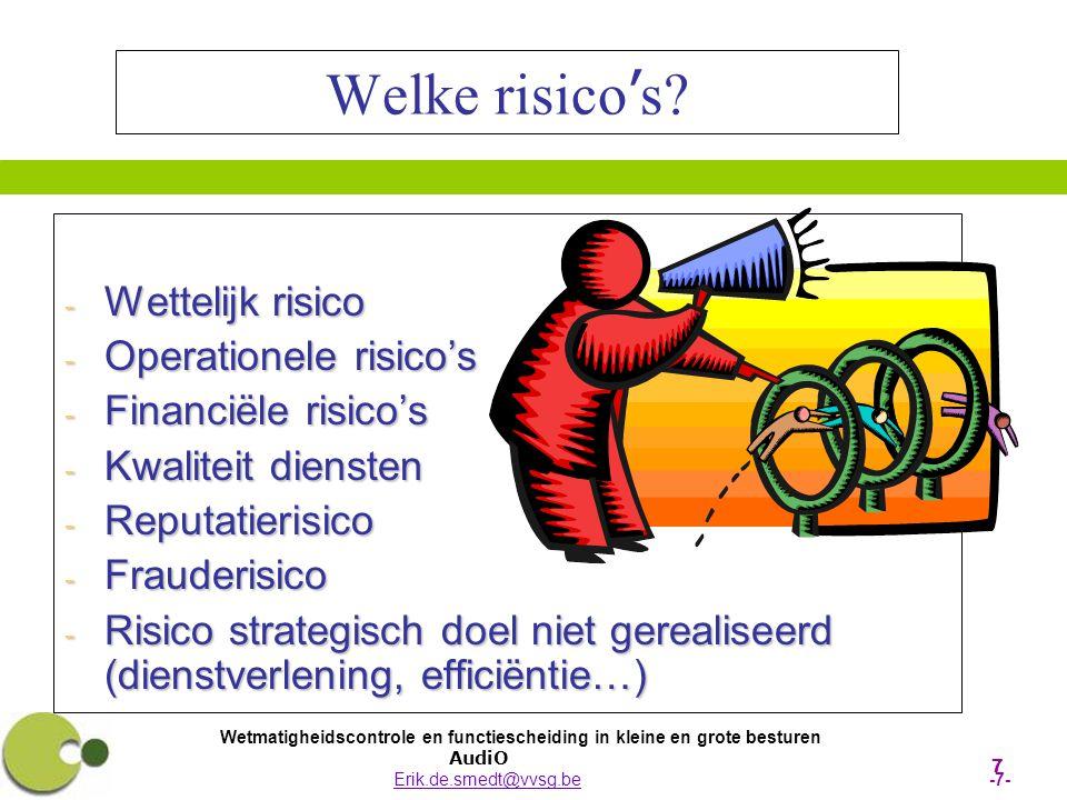 Welke risico's Wettelijk risico Operationele risico's