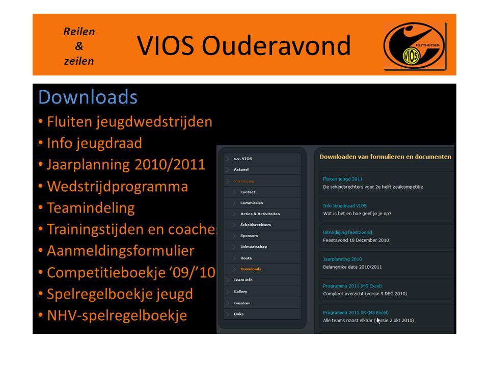 VIOS Ouderavond Downloads Fluiten jeugdwedstrijden Info jeugdraad