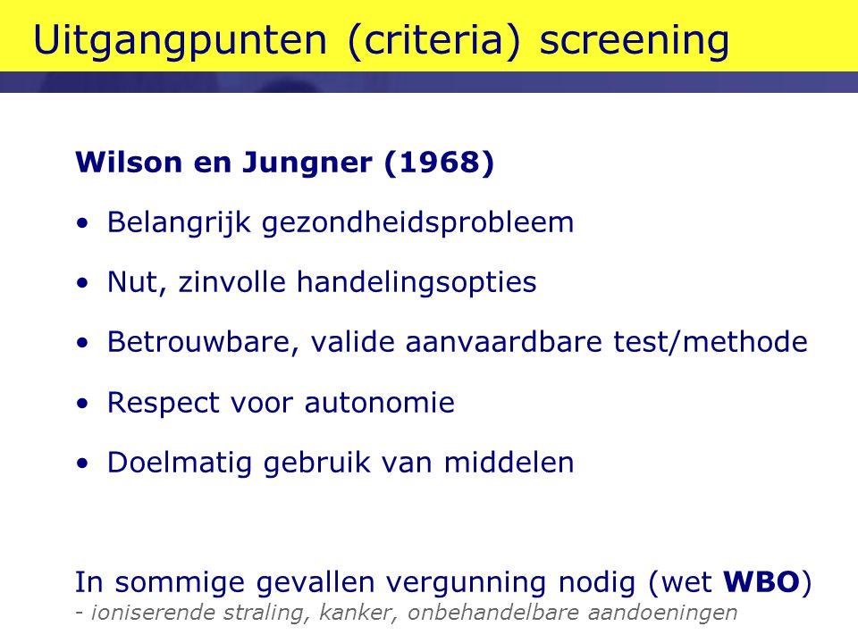 Uitgangpunten (criteria) screening