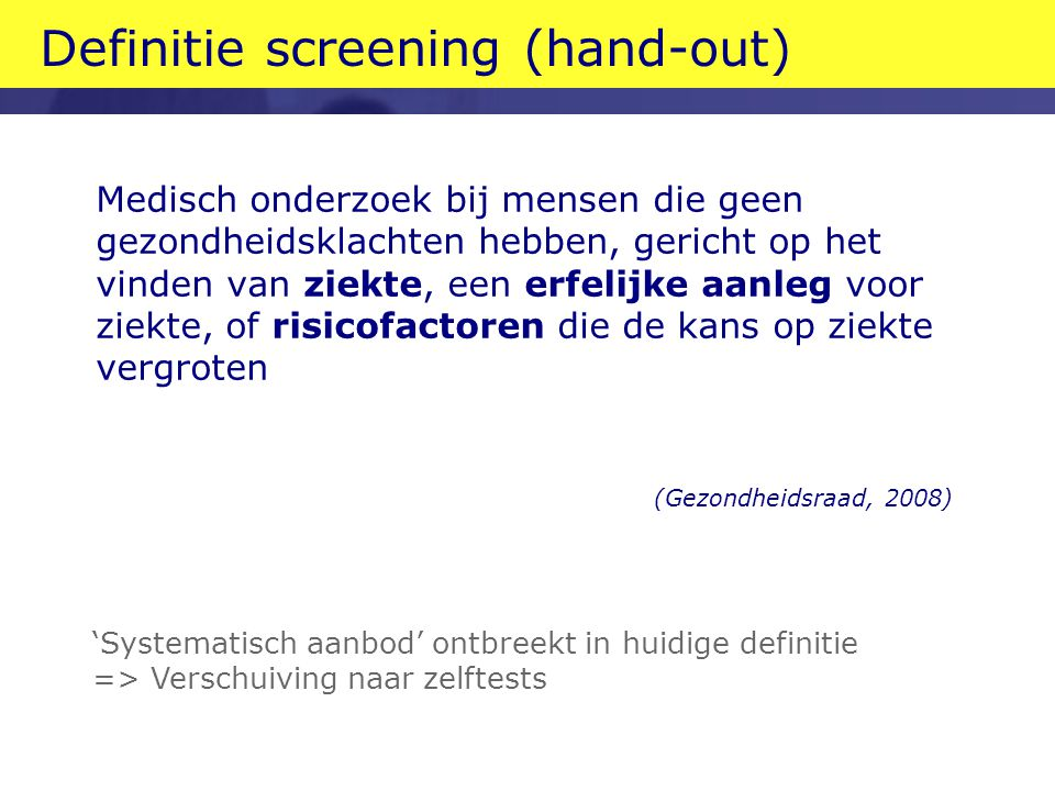 Definitie screening (hand-out)