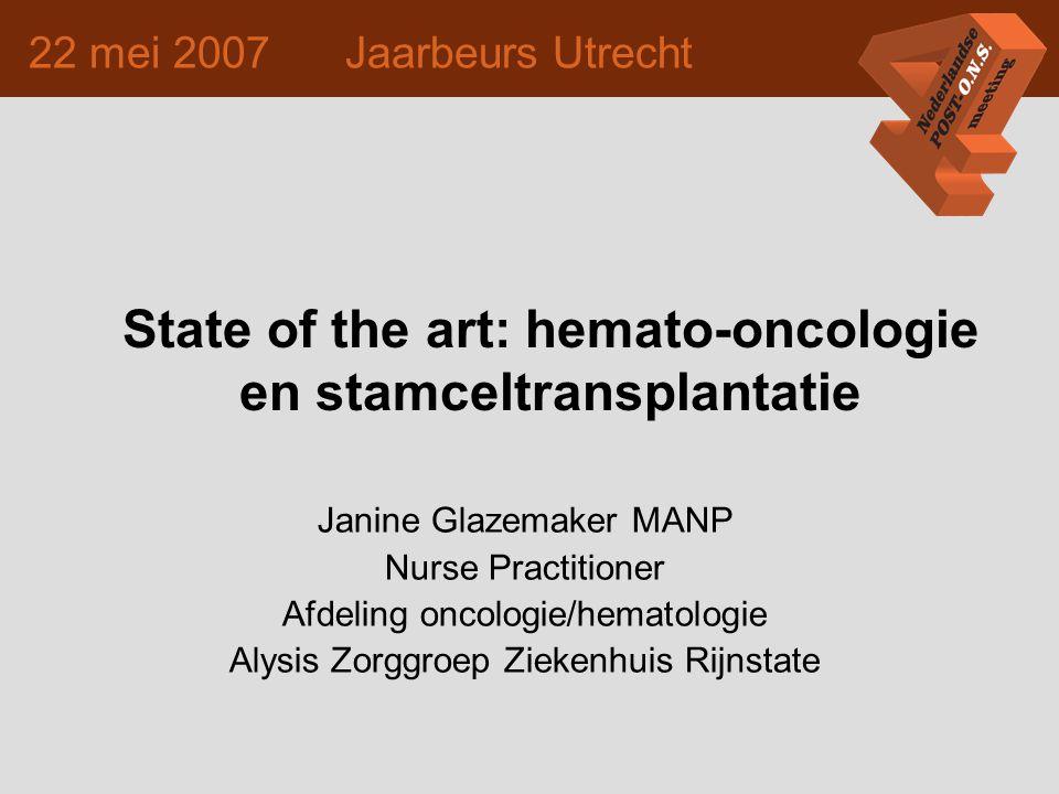 State of the art: hemato-oncologie en stamceltransplantatie