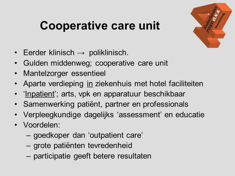 Cooperative care unit Eerder klinisch → poliklinisch.