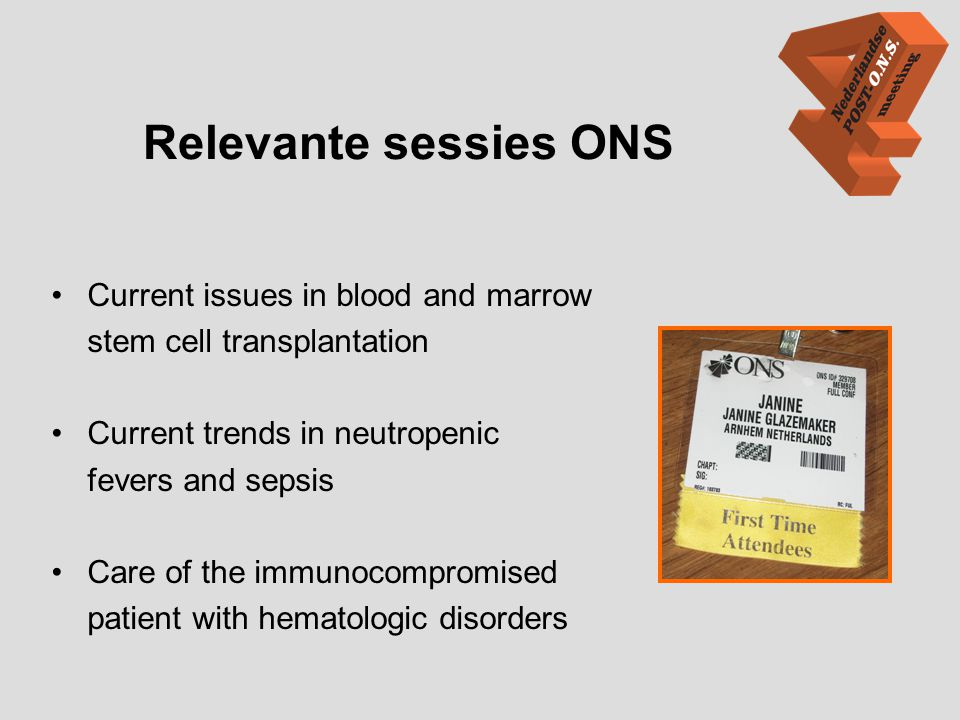 Relevante sessies ONS Current issues in blood and marrow
