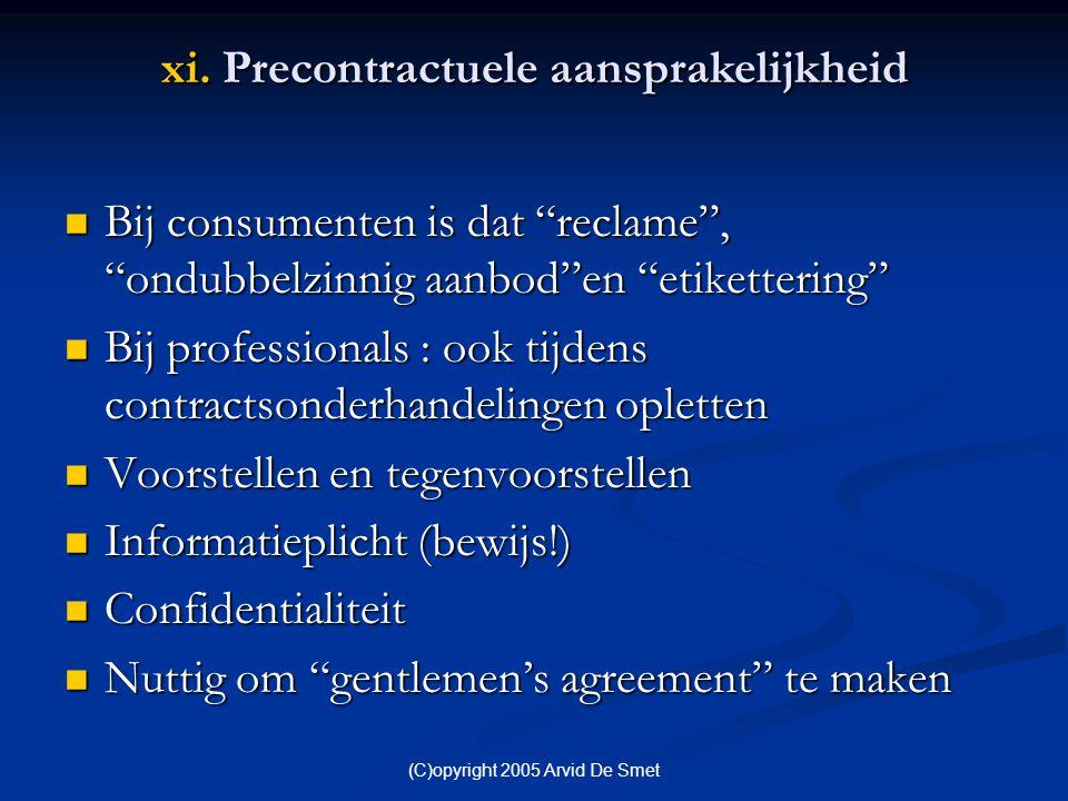 xi. Precontractuele aansprakelijkheid