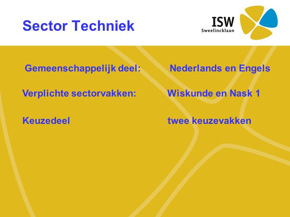 Sector Techniek Gemeenschappelijk deel: Nederlands en Engels